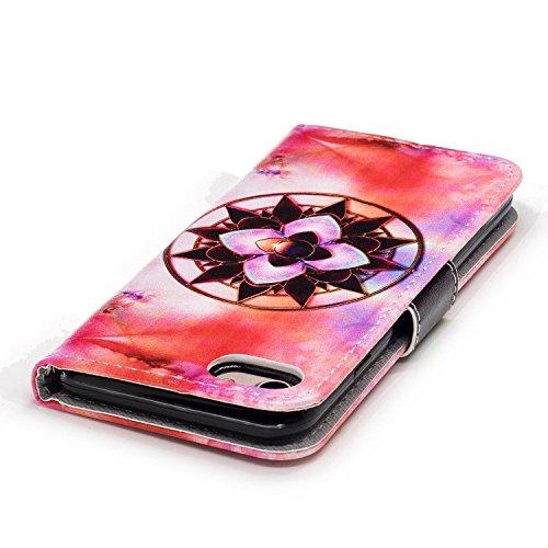 iPhone 8 Hülle,Einzigartige Blumen PU Leder Wallet Handytasche Flip Etui Schutz Tasche mit Integrierten Card Kartensteckplätzen und Ständer Funktion Für Apple iPhone 8 + Zwei Geschenk