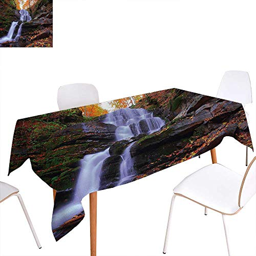 Copper Waterfalls Leaf (Warm Family Outdoor Printed Tablecloth Mountain Waterfall Autumnal Forest Fallen Leaves Moss Cascade Serene View Rectangle Tablecloth 70