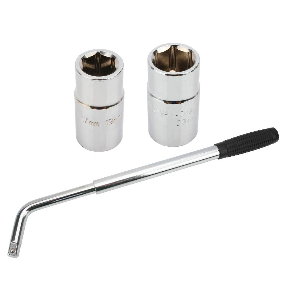 Senzeal Telescoping Lug Wrench Wheel Wrench with 17/19 19/23mm Standard Sockets Universal Car Vehicle Auto Tire Tool Wheel Brace