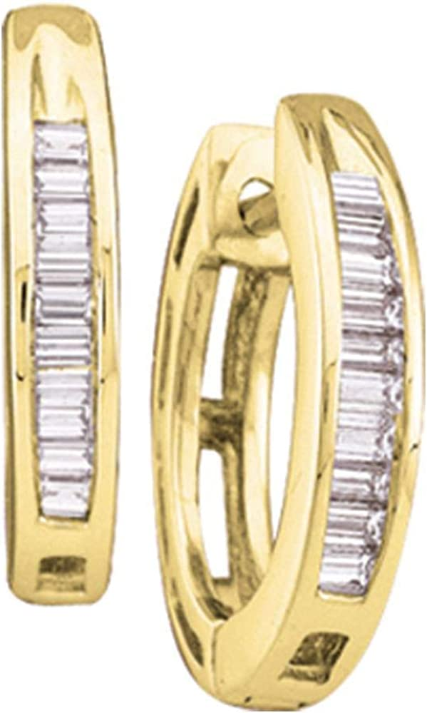 The Diamond Deal 10kt Yellow Gold Womens Baguette Diamond Huggie Hoop Earrings 1/8 Cttw