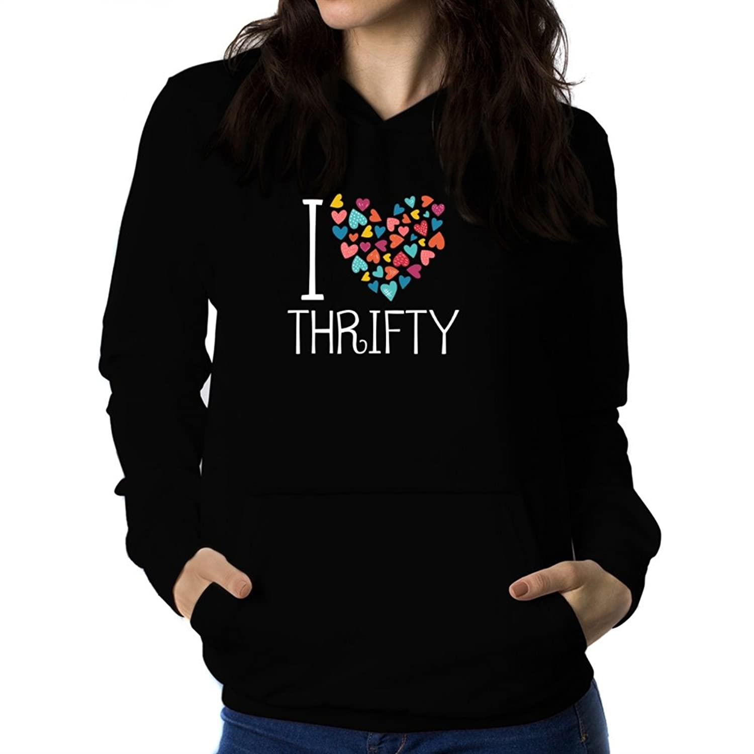 I love thrifty colorful hearts Women Hoodie