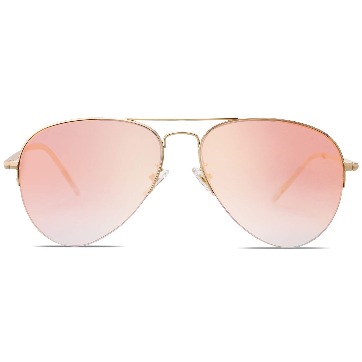 SOJOS Classic Aviator Mens Womens Sunglasses Metal Half Rim Mirrored Lens INSPIRATION SJ1106 with Gold Frame/Gradient Pink Mirrored Lens by SOJOS