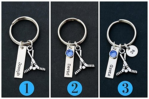 Hockey Sticks Keychain – DII ABC - Coach Team Player Mom Gift – Handstamped Handmade Jewelry – Customize Name Number – 1 Inch Tag 3/8 Disc - Fast 1 Day Shipping