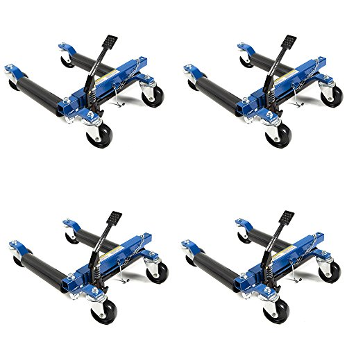 Capri Tools 21085 Hydraulic Car Positioning 12-inch Tire Jack/Dolly, 4-Pack + Stand