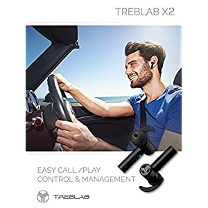 TREBLAB X2 - Revolutionary Bluetooth Earbuds with Beryllium Speakers, True 3D Sound Quality, Best Truly Wireless Earphones Noise Cancelling Sports Ear Buds Blue Tooth Headphones Phone Calls Microphone