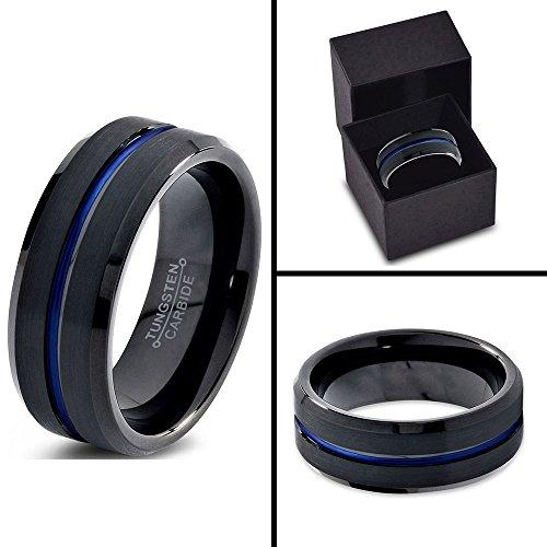 Tungsten Wedding Band Ring 10mm for Men Women Black Blue Center Line Beveled Edge Brushed Lifetime Guarantee