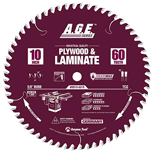 e Tipped Plywood & Laminate Armormax-Coated 10 Inch D x 60T, TCG, 6 Deg, 5/8 Bore Circular Saw Blade ()