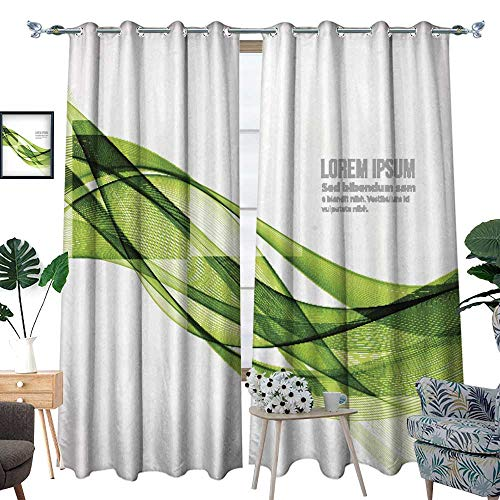 longbuyer Room Grommet Indoor CurtainsAbstract Curved Lines Background Template brochure Design W108 x L96 Drapes ()