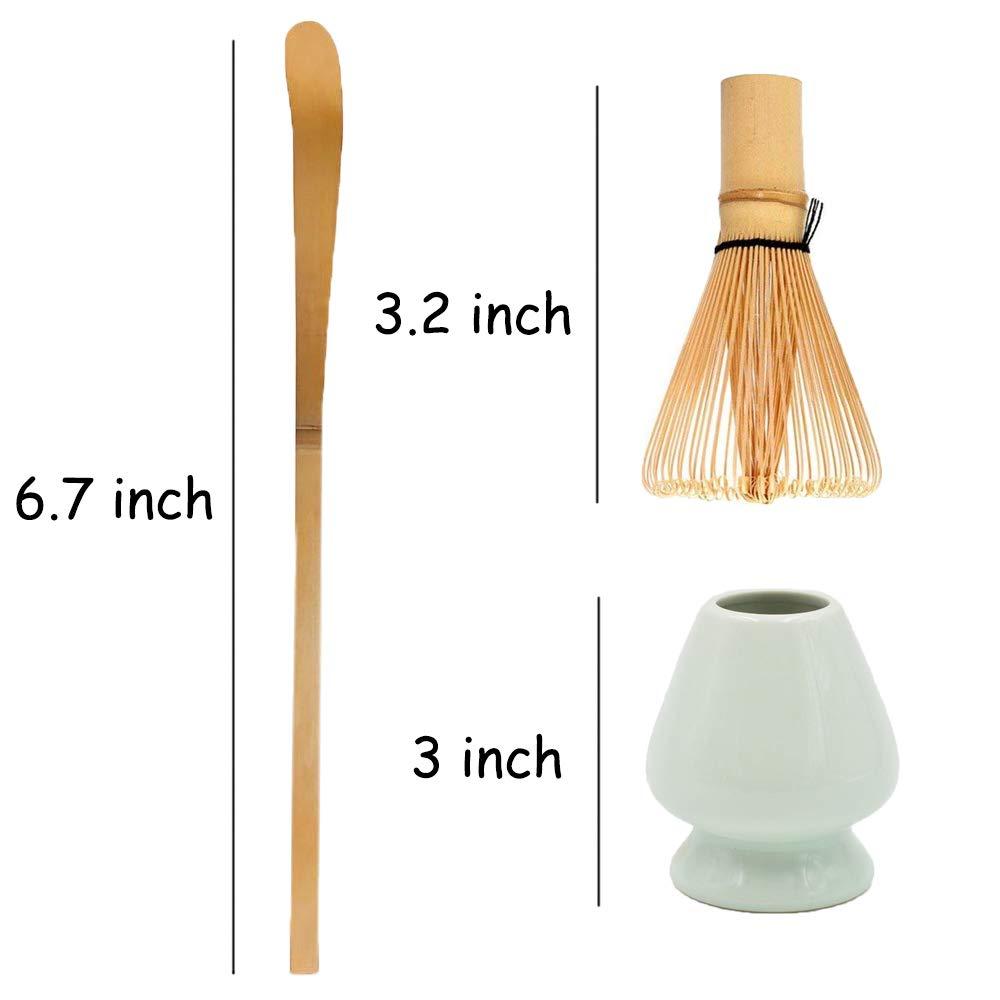 Bamboo Matcha Tea Whisk Set (Chasen) Bamboo Scoop (Chashaku) Ceramic Whisk Holder Ceremonial Starter Matcha Kit for Traditional Japanese Tea Ceremony (plum green) by LTLR (Image #7)