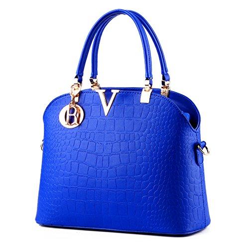 Pahajim Women handbags Luxury leather handbags crocodile pattern Shoulder bag Blue