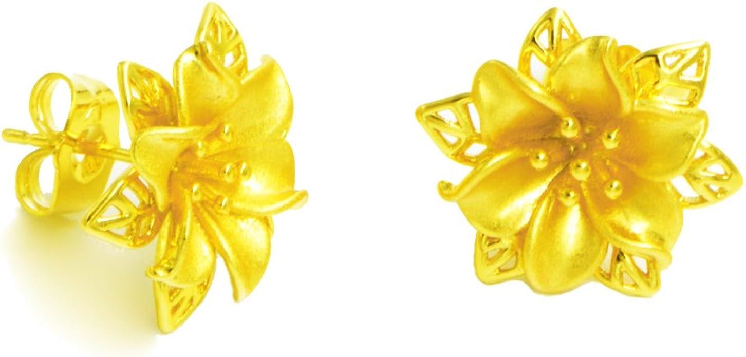 Gold Plated Earring Women Girl Flower Stud Earrings White Wedding Birthday Gift Crystal