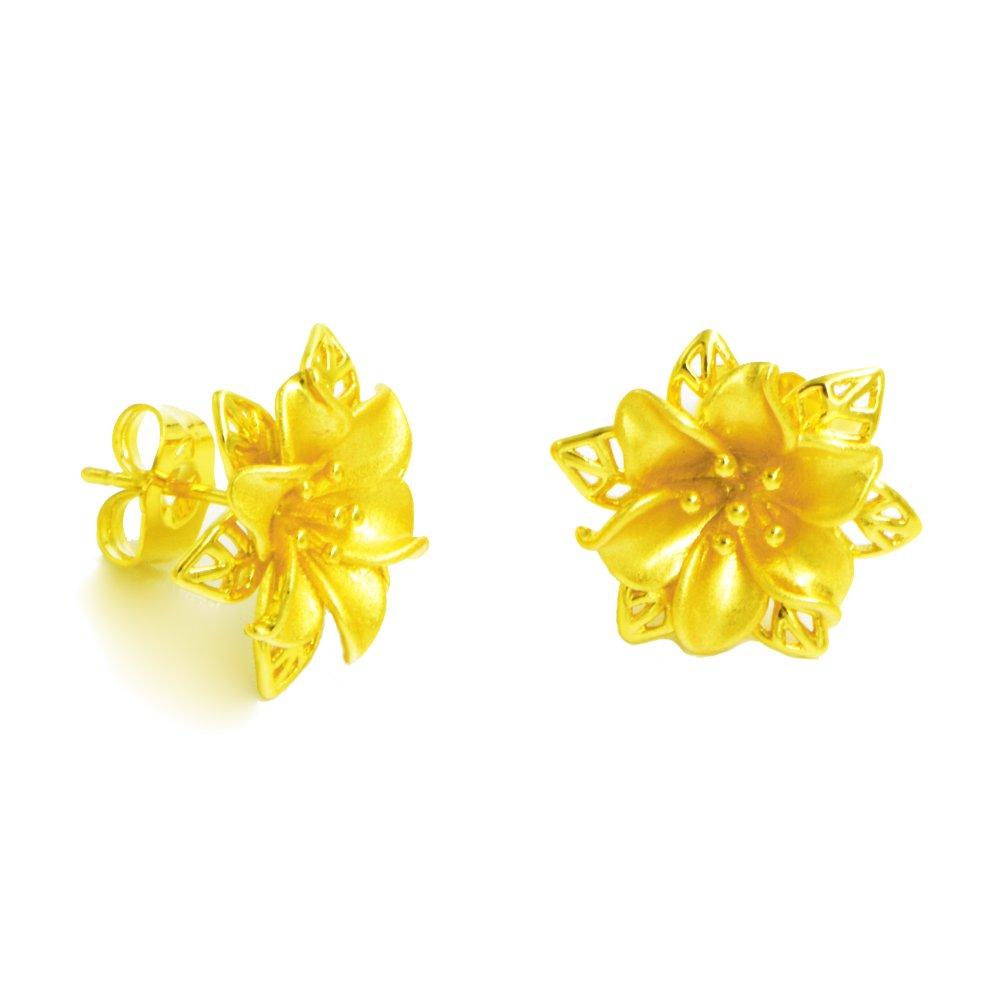 Amazon Lhs Royal Golden Flower Earrings Women 24k Yellow Gold