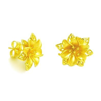 Amazon lhs royal golden flower earrings women 24k yellow gold lhs royal golden flower earrings women 24k yellow gold plated wedding party birthday gift mightylinksfo