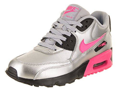 NIKE Kids Air Max 90 LTR (GS) Mtllc Slvr/Hyper Pink Blk WLF GR Running Shoe 4 Kids US by NIKE