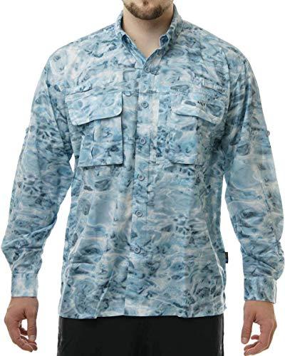(Aqua Design Long Sleeve Fly Fishing Shirt - Mens Camo Saltwater Vented Shirts Aqua Sky: Size 3XL)