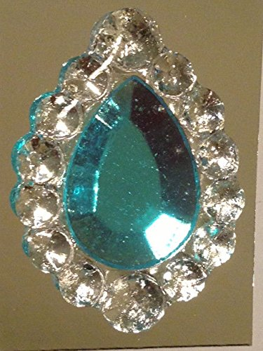 Edible Sugar Brooch Wedding Cake Diamond Jewel Gem Candy Decoration Teardrop(Aqua (Candy Jewels)