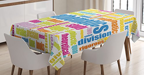 - Ambesonne Mathematics Classroom Tablecloth, Math Related Different Words Conceptual Terminology Group Print, Dining Room Kitchen Rectangular Table Cover, 60