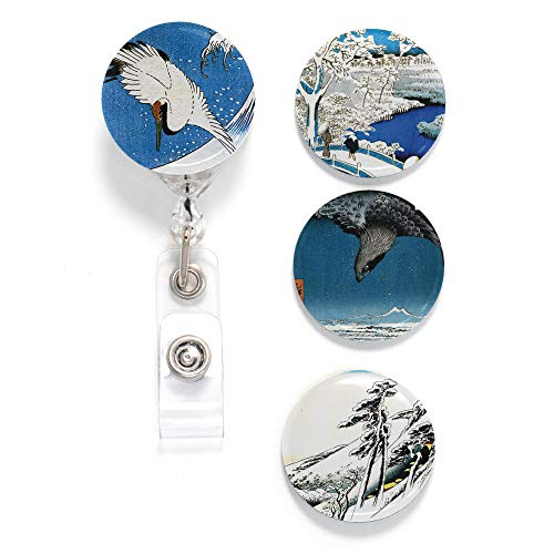 Buttonsmith Hiroshige Tinker Reel Retractable Badge Reel - with Alligator Clip and Extra-Long 36 inch Standard Duty Cord - Made in The USA