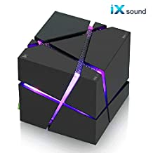 iXsound Cube Wireless Bluetooth Speaker, Led Light Portable Bluetooth Speaker Powerful Sound with Build-in Microphone, Work for Iphone Ipad, Ipod Samsung Tablet Laptop Mp3 CD Player (Black)
