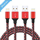 Ulinek iPhone Cable 2 Pack 2m Braided Lightning to USB Apple Charging Wire Extra Long Cord Lead for iPod, iPhone 8 Plus 8 7 Plus 6s Plus 6 Plus 6s 6 SE 5 5S 5C, iPad Pro Air, iPad Mini (Red & Black)