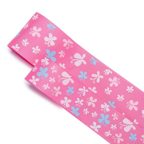 Finest Quality Luxurious Grosgrain Ribbon with Dancing Butterflies Print Design, French Ruban, Nastro! Neotrims is the Best Quality at a Great Wholesale Price and in 2 Widths Size of 25mm or 38mm For Apparel and Sewing Or Crafts. 3 Stunning Pastel Colours Options.