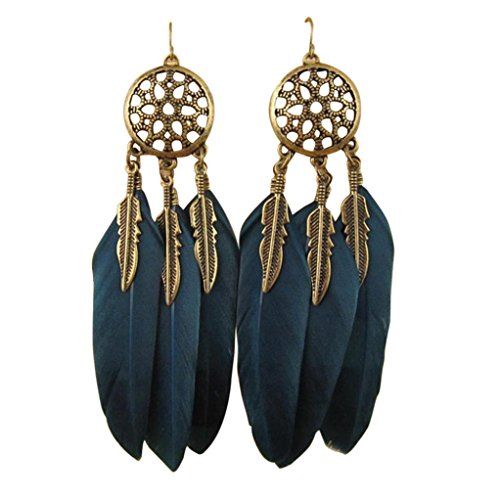 Women Fashion, Jewelry Girl Bohemia Feather Long Design Catcher Earring, alloy ()