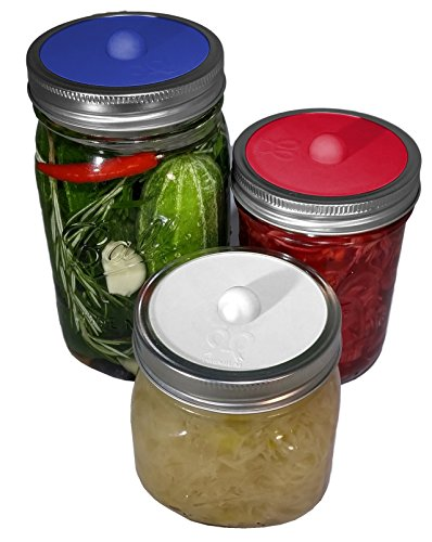 Maintenance free silicone airlock waterless fermentation lids for wide mouth mason jars. BPA free, mold free, dishwasher safe. 6 pack. Premium Presents brand. Red, White, Dark Blue colors by PremiumPresents (Image #1)