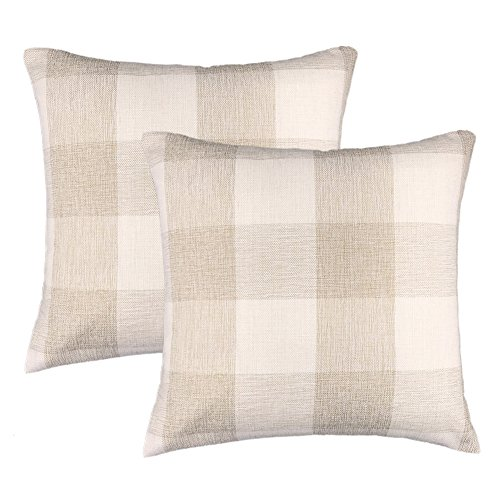 4TH Emotion Farmhouse Decoration Beige White Checkers Plaids Linen Christmas Throw Pillow Case Decorative Cushion Cover Pillowcase Cushion Case for Sofa 18 x 18 Inch, Set of 2