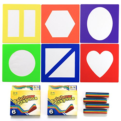 Lip Coloring Crayon (Crayon Stencil Set - 12 Rainbow Non-Toxic Crayons and 6 Coloring Stencils, Art & Craft Activity Kit for Kids)