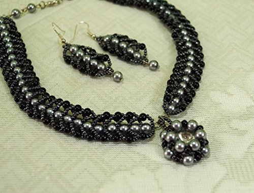 black choker necklace, black and grey seed bead and glass pearl beads necklace set, handmade necklace, chokers, necklace with (Grey Czech Seed)