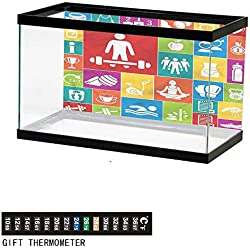 "bybyhome Fish Tank Backdrop Fitness,Colorful Icons Health,Aquarium Background,48"" L X 18"" H(122x46cm) Thermometer Sticker"