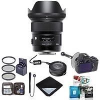 Sigma 24mm f/1.4 DG HSM ART Lens for Canon EOS DSLR, USA - Bundle with 77mm Filter Kit, DSLR Follow Focus and Rack Focus, Lens Wrap, Cleaning Kit, USB Dock f/Canon Lens, Lenscap Leash, Software Pack