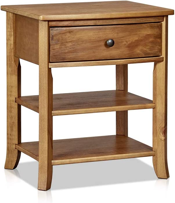 MUSEHOMEINC Rustic Wood 3-Tier Nightstand with Storage Shelf and Drawer for Bedroom or Living Room/Round Metal Knobs/Heritage Collection Furniture/End Table/Side Table, Teak Finish