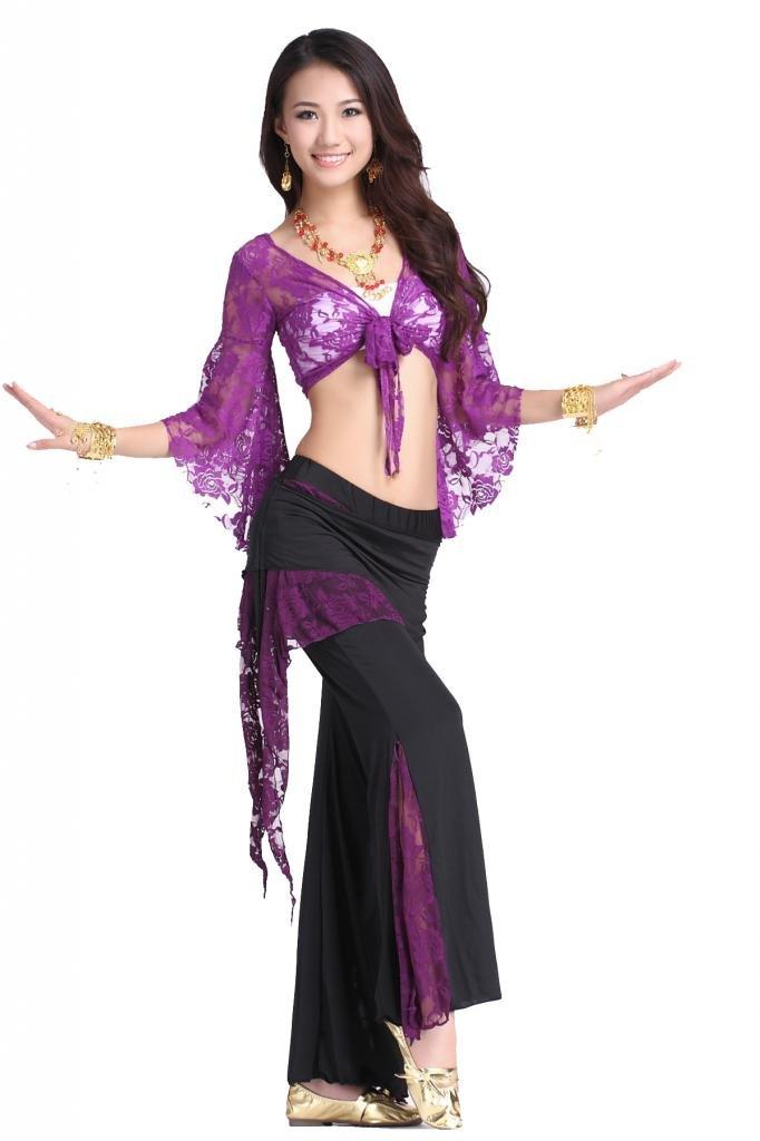 ZLTdream Women's Belly Dance Butterfly Lace Top and Pants Purple