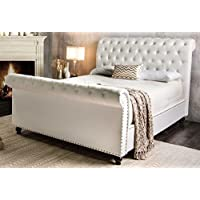 Furniture of America Yuri Fabric Sleigh Bed, Queen, White