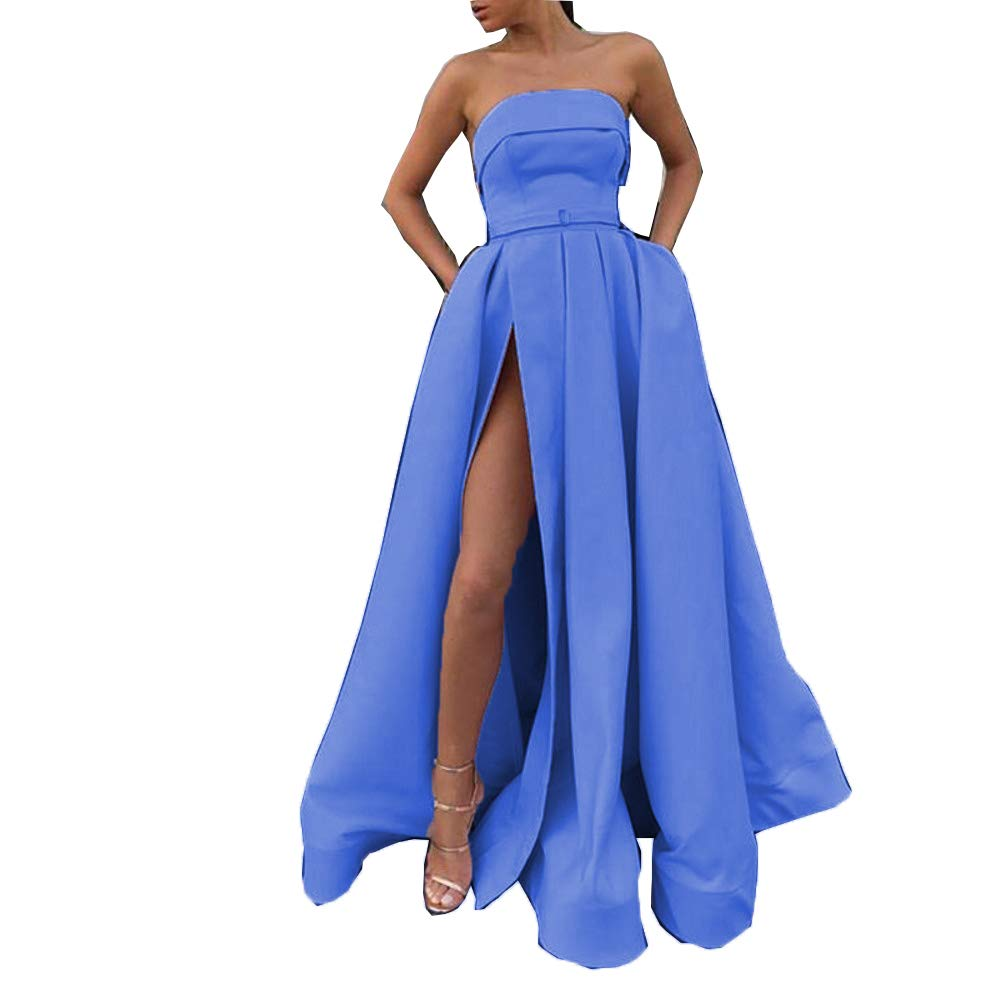 bluee Darcy74Dulles Women's Satin Long Evening Dress Sexy High Slit Floor Length Red Formal Evening Gowns Dresses with Pockets