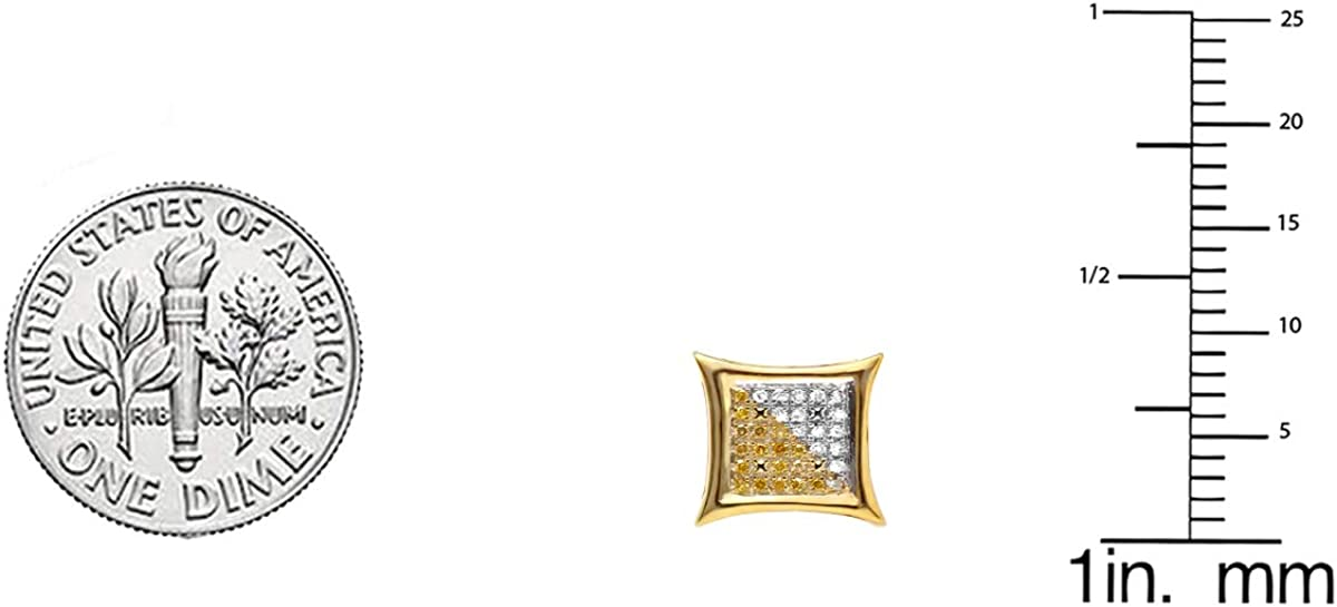 Dazzlingrock Collection 0.08 Carat Only 1pc ctw White /& Yellow Round Diamond Micro Pave Kite Shape Stud Earring