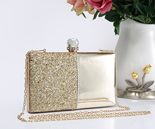 Stone Dimensions Glitter Half With Leather Diamante 0cm Women's Gold Clasp Glossy Redfox Crystals 20x12x4 Patent wPqzZEZ