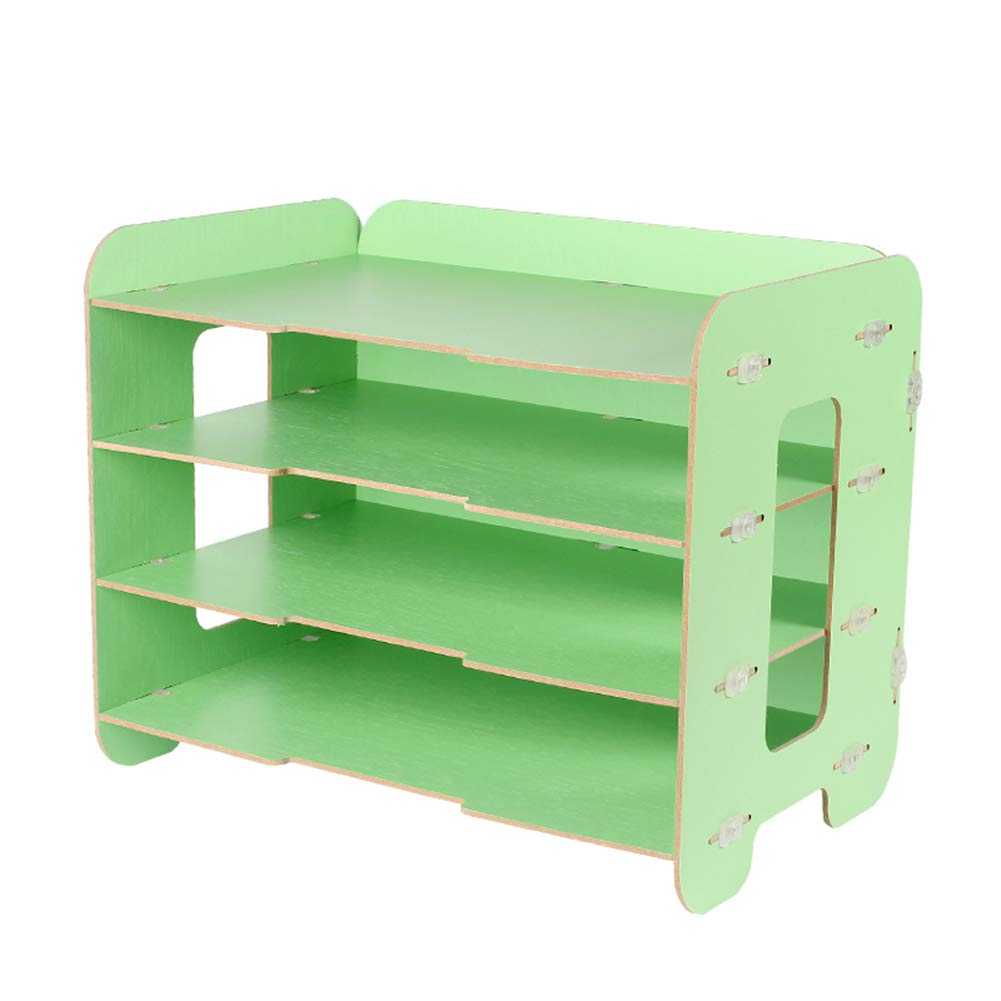 Heatleper 4 Tier Wooden Desktop Office Document Tray Holder, A4 File Rack Document Magazine Holder Desk Organizer for Office School Home Daily Use (Green)