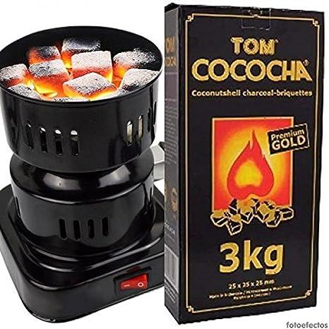 Hornillo eléctrico 600W para Shisha o Cachimba + 3 Kg. Carbón Natural Tom Cococha Gold: Amazon.es: Salud y cuidado personal
