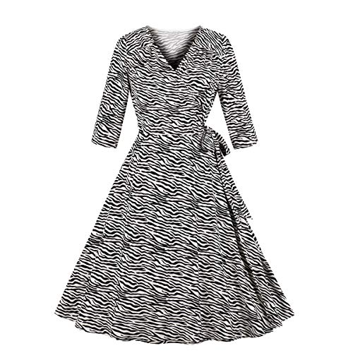 (Wellwits Women's Zebra Print Animal Pattern Half Sleeves Wrap Vintage Dress XL Black and White)