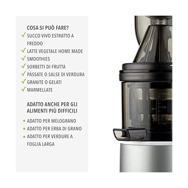 Classe Italy 70430254 Estrattore di Succo Bassa Velocita 43 Giri/Min, 0.5 litri, 200 Watt, Bianco/Argento - 2021 -