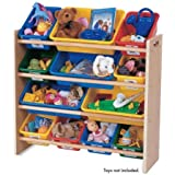 Kids Toy-Storage Box Alternative Sturdy Wood Organizer with 12 Removable Plastic Bins in Natural/Primary