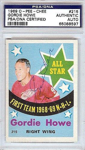Gordie Howe Signed 1969 O-Pee-Chee Trading Card #215 Detr...