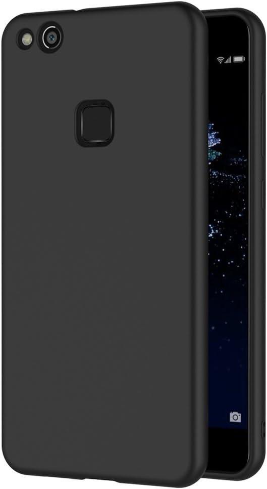 Cover per Huawei P10 Lite, AICEK Cover P10 Lite Nero Silicone Case Molle di TPU Sottile Custodia per Huawei P10 Lite