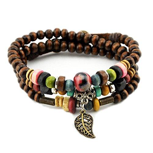 Handmade Vintage Leaf Pendant Tibeten Color of Strand Wooden Beads Bracelet Necklace (Vintage Wooden Bead)