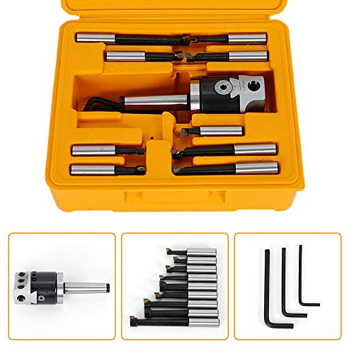 Boring Bar CNC Milling Tools Set Kit, MT2-M10 F1-12 Boring Head 50mm, Carbide Boring Head Tool Set Machine Accessories w/Carry Case from MONIPA