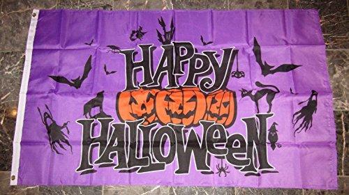 3x5 Happy Halloween Purple Jack o Lanterns Ghosts Bats Flag 3'x5' Brass -