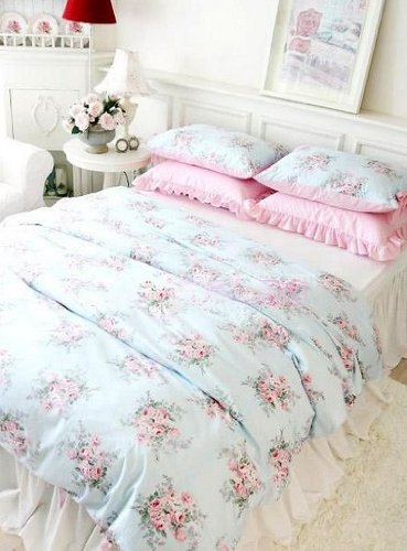 Swanlake Shabby And Elegant Aqua Blue With Roses 4pc Duvet