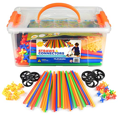Playlearn 300 Piece Straws Builders Construction Building Toy with Wheels - with Special Colored Connectors